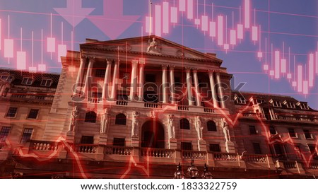 Concept piece to show Bank of England considering implementing negative interest rates to help stimulate the economy, London, UK.