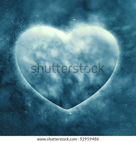 Concept ,Planet of the heart in beautiful space