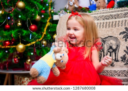 8a2a62166 Free photos Portrait of happy girl decorating Christmas tree.Family ...
