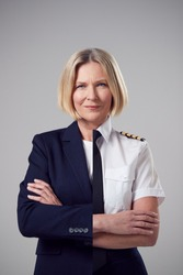Concept Portrait Of Woman Shows Contrasting Day And Night Job Roles In Business And As Pilot