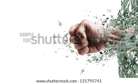 Shutterstock concept. power fist coming out of cracked glass isolated on white background