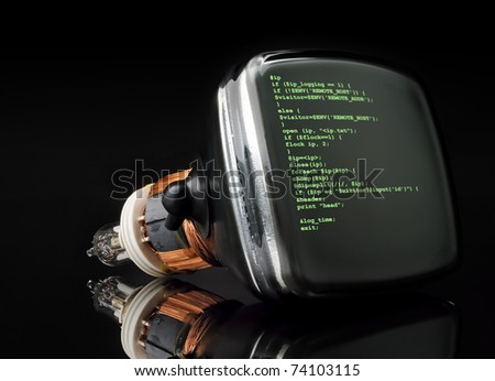 Concept program hacker code on old television tube black background - stock photo