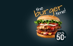 Concept promotional flyer and poster for Restaurants or Burger, template with delicious taste seafood burger,beef burger and copy space for your text.