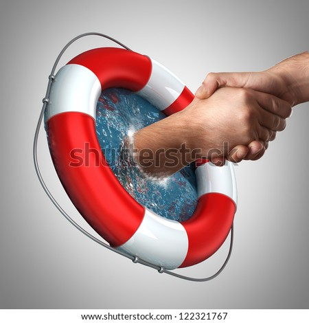 concept Red life buoy with hands in the water High resolution