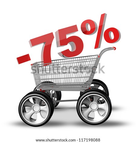 Concept SALE discount 75 percent. shopping cart with big car wheel High resolution 3d render