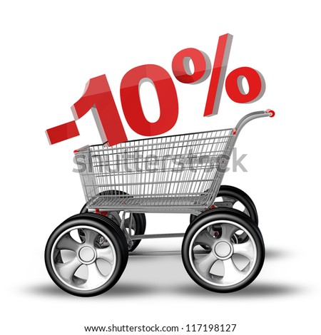 Concept SALE discount 10 percent. shopping cart with big car wheel High resolution 3d render
