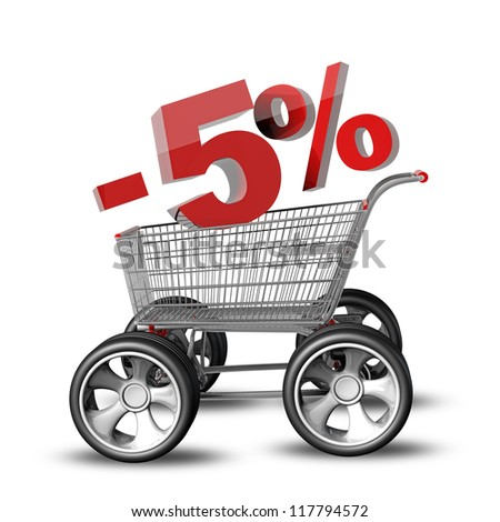 Concept SALE discount 5 percent. shopping cart with big car wheel High resolution 3d render