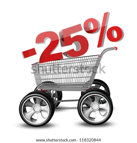 Concept SALE discount 25 percent. shopping cart with big car wheel High resolution 3d render