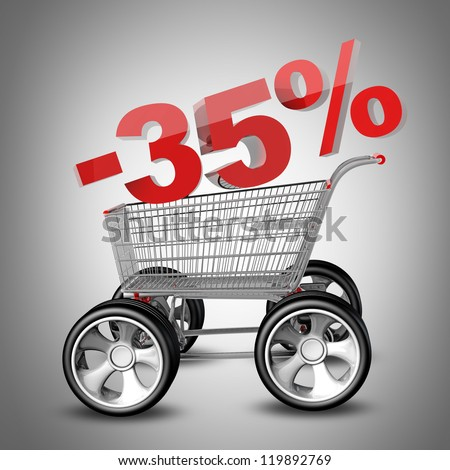 Concept SALE discount 35 percent. shopping cart with big car wheel High resolution 3d render