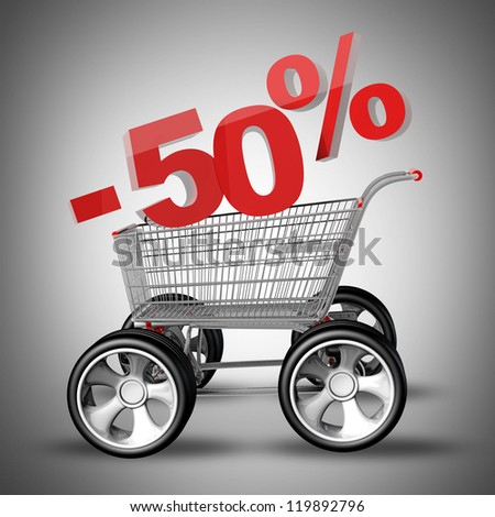 Concept SALE discount 50 percent. shopping cart with big car wheel High resolution 3d render