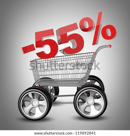 Concept SALE discount 55 percent. shopping cart with big car wheel High resolution 3d render