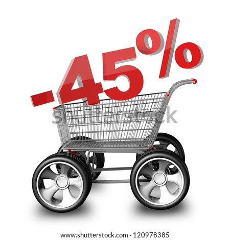 Concept SALE discount 45 percent. shopping cart with big car wheel High resolution 3d render