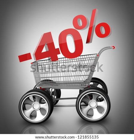 Concept SALE discount 40 percent. shopping cart with big car wheel High resolution 3d render