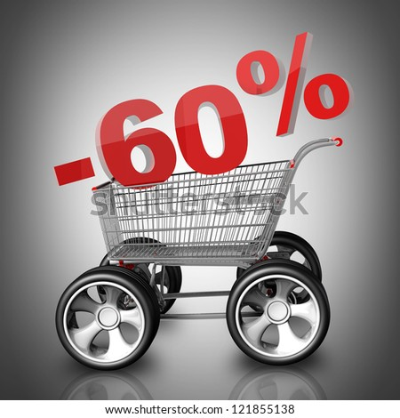 Concept SALE discount 60 percent. shopping cart with big car wheel High resolution 3d render