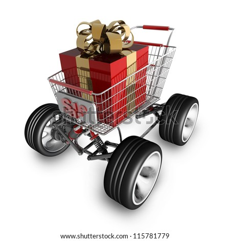 Concept SALE. shopping cart with big car wheel and RED christmas gift box isolated on white background High resolution 3d render