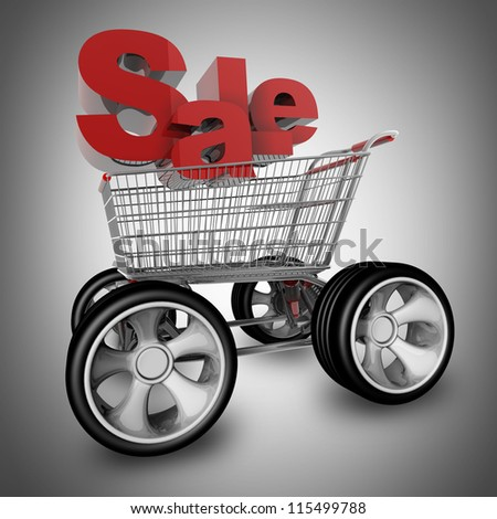 Concept SALE. shopping cart with big car wheel High resolution 3d render