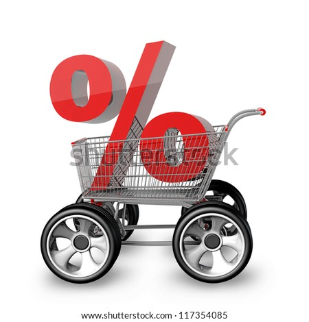 Concept SALE. shopping cart with big car wheel isolated on white background  High resolution 3d render