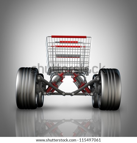 Concept. shopping cart with big car wheel High resolution 3d render