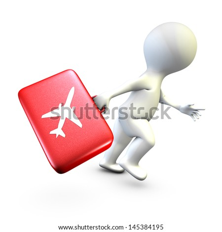 Concept showing the action of a person late who tries to catch his plane at time
