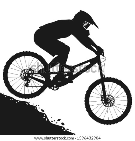 Concept silhouette design illustrator vector of Mtb mountain bike rider jump down hill. Stockfoto ©