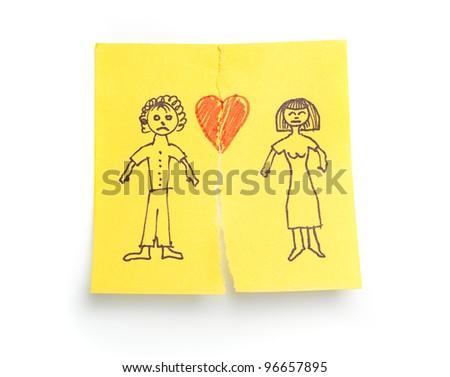 Concept sketched 'Divorce' on sticky note paper