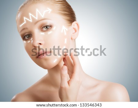 concept skincare. Skin of beauty young woman with facelift, plastic surgery, rejuvenation, arrows