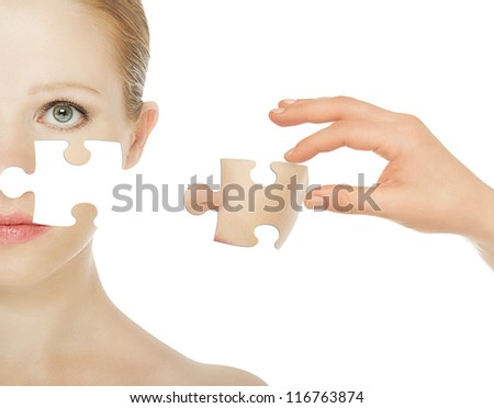 concept skincare with puzzles. Skin of beauty young woman before and after the procedure isolated on a white background