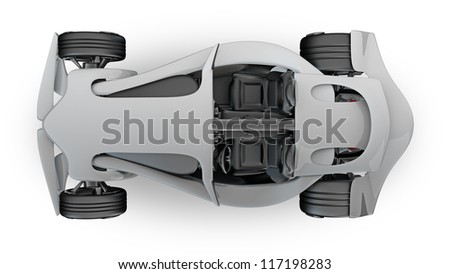 Concept  sport car (roadster) isolated on white (No trademark. This car is my own design) High resolution 3d render