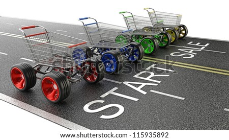 Concept START SALE. shopping carts with big car wheel on the road High resolution 3d render