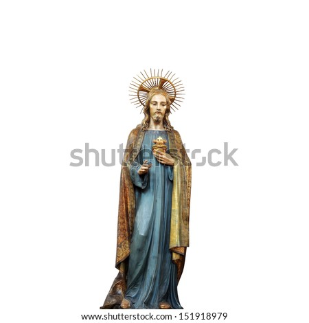 Concept statue of jesus religion,symbol,silhouette on background white ,Christ,face,metaphor,religious,Jesus,faith,prayer,god,belief, church