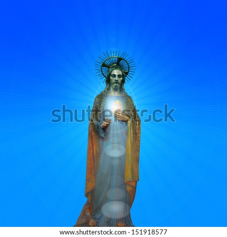 Concept statue of jesus religion,symbol,silhouette on background with blue skies and sun rays,Christ,face,metaphor,religious,Jesus,faith,prayer,god,belief,piety, church