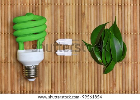 concept, symbolizing the ecological compatibility of energy saving bulbs