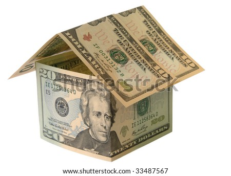 Concept towards real estate and house construction financing. A single house made of ten and twenty dollar banknotes on white background.