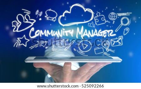 Concept view of a man holding tablet with community manager icon around
