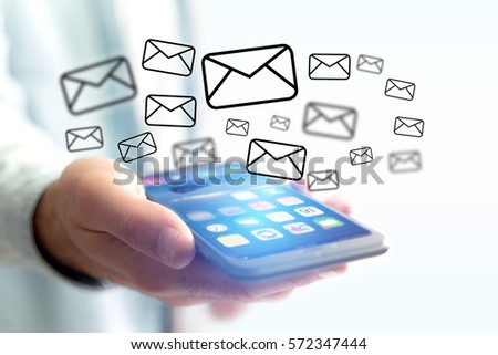 Concept view of sending email on smartphone interface with message icon around #572347444