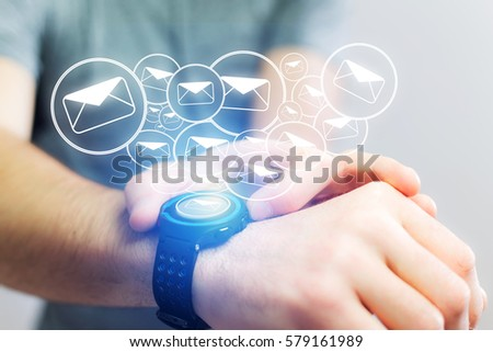 Concept view of sending email with a technology  smartwatch interface #579161989