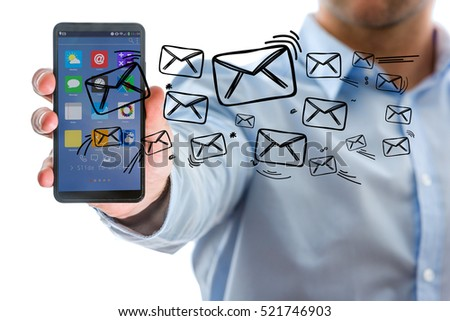 Concept view of sending message with smartphone with email icon around #521746903