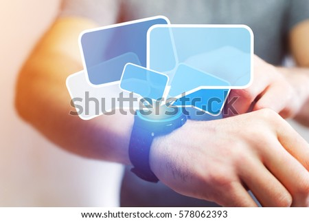 Concept view of sending messages with a smartwatch #578062393