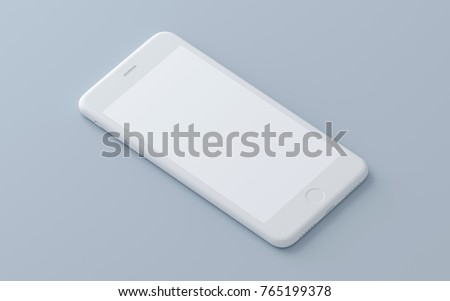 Concept whte phone on a isolated background. 3d render