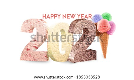 Concept with Ice-cream - What the year 2021 will bring for you