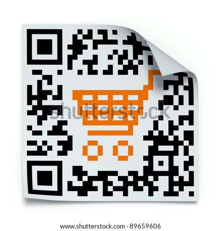 Concept with QR code label with the shopping cart