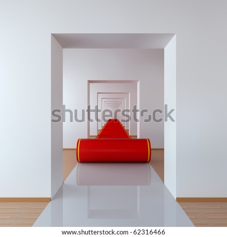 Concept with red carpet in abstract hallway