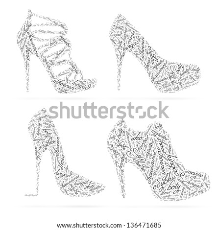 Concept women's shoes created from the words SHOES in different languages