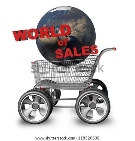 "Concept world of SALES. Shopping trolley and earth globe with big car wheel High resolution 3d render ""Elements of this image furnished by NASA"""