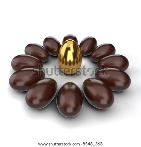 Conception of leadership. Gold nut in a center chocolate nuts