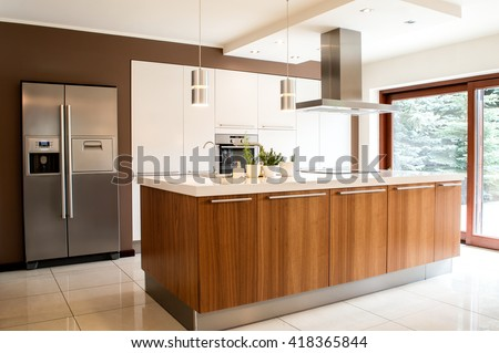 Conception of modern kitchen with household goods #418365844