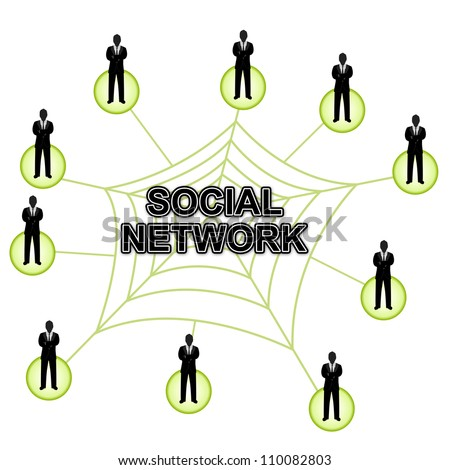 Conception of Social Network and Communication, Present With Many People Standing Around The Social Network Spiderweb Isolated on White Background