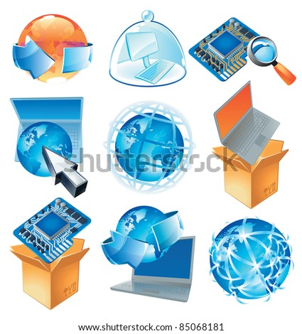 Concepts for IT-business, technology and worldwide web. Raster version. Vector version is also available.