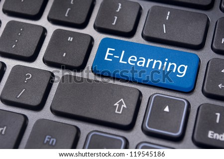 Concepts of E-learning, for computer based learning, with a message on enter key of keyboard.