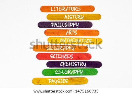 concepts of subjects of study on colored wooden pallets